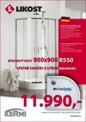 SET KERMI CADA XS sprchový kout + vanička SanSwiss TRACY z litého mramoru (90x90x200 cm R550, stříbrný lesk/čiré sklo) č.1