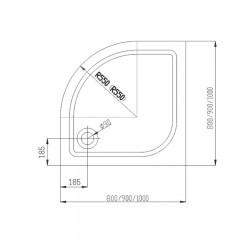 MEREO SET sprchový kout CK35124H, 90x90x185 cm, bílý ALU, Chinchilla, vanička R550, vč. sifonu, bez nožiček č.4